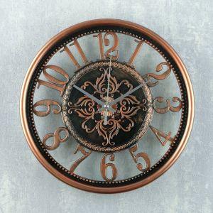 "Часы настенные, серия: Интерьер, ""Стелла"", 25х25х3 см, под бронзу  4123036"