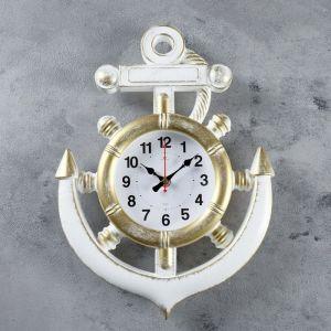 """Часы настенные, серия: Море, """"Якорь"""", бело-золотые,  39 см 4551240"""