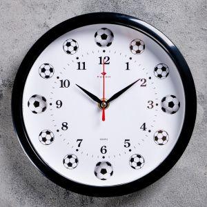 """Часы настенные круглые """"Футболисту"""", обод чёрный, 22х22 см   2976088"""