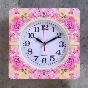 """Часы настенные, серия: Классика, """"Летний букет"""", 19х19х3 см, микс  4156402"""