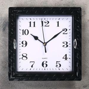 """Часы настенные, серия: Классика, """"Плетёнка"""", квадратные, черные  21х21 см 2457678"""