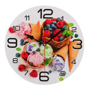 """Часы настенные круглые """"Мороженое и ягоды"""", 24 см  микс 3571433"""