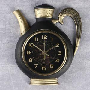 """Часы настенные, серия: Кухня """"Чайник"""" 26,5х24 см, корпус чёрный с золотом 4852855"""