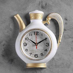 """Часы настенные, серия: Кухня """"Чайник"""" 26,5х24см, корпус белый с золотом 4833050"""