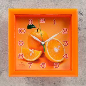 "Часы настенные, серия: Кухня, ""Апельсин"", оранжевая рамка, 20х20 см микс  586253"