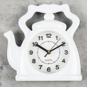 "Часы настенные, серия: Кухня, ""Чайник"", белый 24х24 см, плавный ход 3425927"