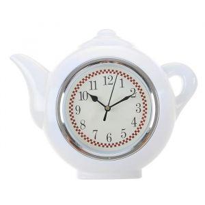 "Часы настенные, серия: Кухня, ""Чайник"", белый, 30х23 см, плавный ход  2306962"