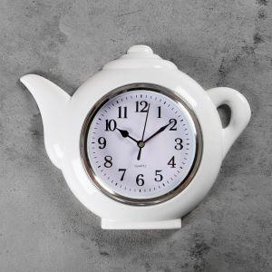 "Часы настенные, серия: Кухня, ""Чайник"", хром, 30х23 см 2306963"