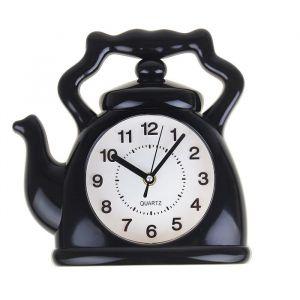 """Часы настенные, серия: Кухня, """"Чайник"""", черный, 24х24 см, плавный ход 1275438"""