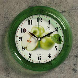 """Часы настенные круглые """"Яблоки"""", зеленые"""