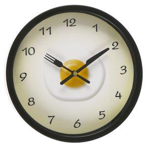 """Часы настенные, серия: Кухня, """"Яичница"""" d=23 см, черные,  плавный ход  3043455"""