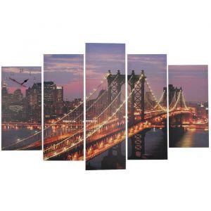 Часы настенные модульные «Манхэттенский мост ночью», 80 ? 140 см