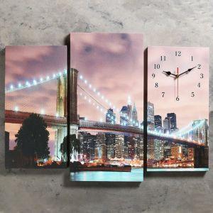 Часы настенные модульные «Огни Нью-Йорка», 60 ? 80 см