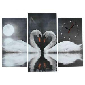 Часы настенные модульные «Пара лебедей при лунном свете», 60 ? 80 см