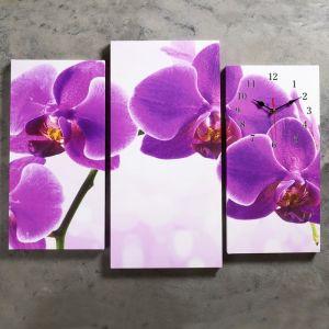 Часы настенные модульные «Фиолетовые орхидеи», 60 ? 80 см