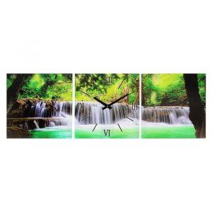 Часы-картина настенные прямоугольные «Водопад в джунглях», 35 ? 105 см