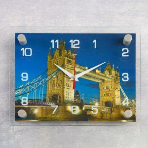 """Часы настенные, серия: Город, """"Тауэрский мост ночью""""20х26 см 1141455"""