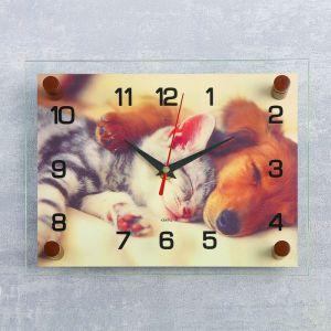 """Часы настенные, серия: Животный мир, """"Котёнок и собачка"""", 20х26 см  микс 2918858"""