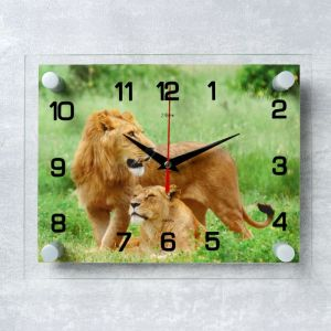 """Часы настенные, серия: Животный мир, """"Лев и львица"""", 20х26  см, микс 1103769"""