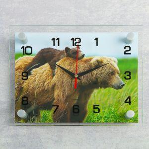 """Часы настенные, серия: Животный мир, """"Медведица с медвежонком"""", 20х26 см  микс 2918857"""