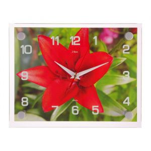 "Часы настенные, серия: Цветы, ""Красная лилия"" 20х26  см, микс 1103766"