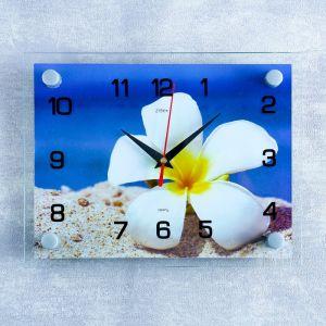 """Часы настенные, серия: Цветы, """"Плюмерия на песке"""", 20х26  см, микс 1103768"""