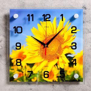 """Часы настенные, серия: Цветы, """"Подсолнух"""", 25х25  см, микс 1178396"""