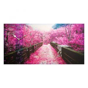 "Часы на холсте ""Сиреневая листва на мосту"", микс 40х76 см 2570042"