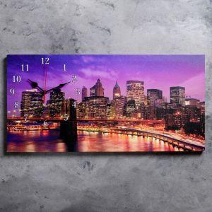 """Часы настенные, серия: Город, на холсте """"Бруклинский мост"""", 40х76  см, микс 2045184"""
