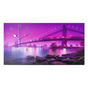 """Часы настенные, серия: Город, на холсте """"Светящийся мост"""", 40х76  см, микс 2045208"""