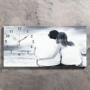 """Часы настенные, серия: Люди, на холсте """"Влюбленная пара"""", 40х76  см, микс 2045161"""