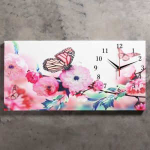 """Часы настенные, серия: Цветы, на холсте """"Бабочки в цветах"""", 40х76  см, микс 2045199"""