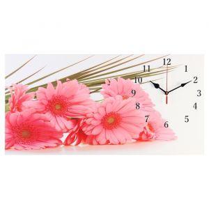 """Часы настенные, серия: Цветы, на холсте """"Розовые герберы"""", 40х76  см, микс 2045172"""