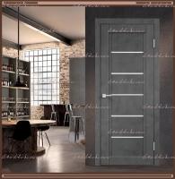 Межкомнатная дверь NEXT 1  Муар тёмно-серый, стекло - ЛАКОБЕЛЬ Белое :