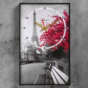 """Часы настенные, серия: Город, """"Цветущее дерево в Париже"""", 37х60  см, микс 1152321"""