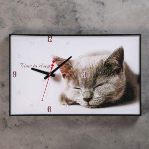 """Часы настенные, серия: Животные, """"Серая кошка"""", 37х60 см микс 1152325"""