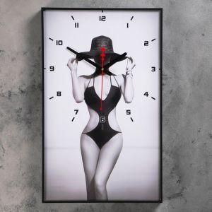 """Часы настенные, серия: Люди, """"Девушка в шляпе"""", 37х60 см 1192860"""