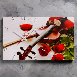 """Часы настенные, серия: Музыка, """"Розы и скрипка"""", 61х37  см, микс 1294772"""