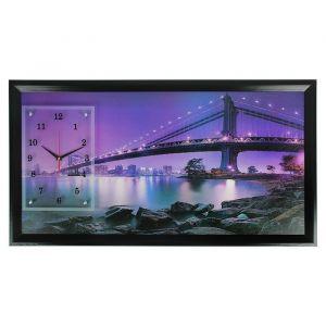 """Часы-картина настенные, серия: Город, """"Бруклинский мост"""", микс 50х100 см 1210521"""