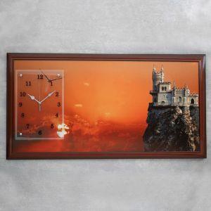 """Часы-картина настенные, серия: Город, """"Ласточкино гнездо, закат"""", 50х100  см, микс 1210522"""