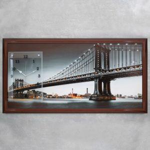 """Часы-картина настенные, серия: Город, """"Манхэттенский Мост"""", 50х100  см, микс 1541478"""