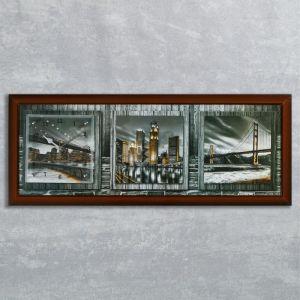 """Часы-картина настенные, серия: Город, """"Ночная Америка"""", 35х100  см, микс 1222604"""