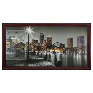 """Часы-картина настенные, серия: Город, """"Ночной Бостон"""", 50х100  см, микс 1210538"""