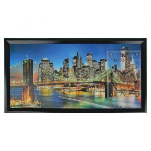 """Часы-картина настенные, серия: Город, """"Ночной город и архитектура"""", 50х100  см, микс 1541483"""