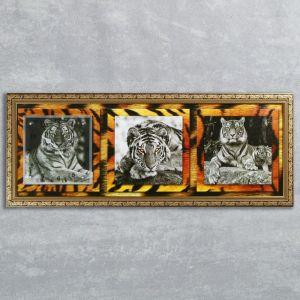 """Часы-картина настенные, серия: Животный мир, """"Тигры"""", 35х100  см, микс 1210491"""