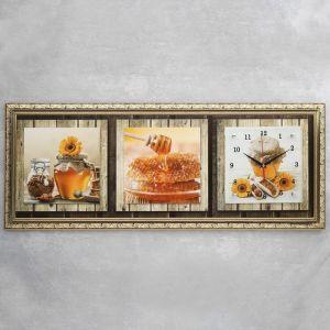 """Часы-картина настенные, серия: Кухня, """"Мед и кофе"""", микс 35х100 см 1210486"""