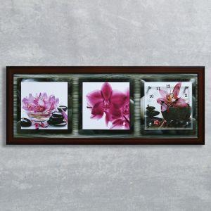 """Часы-картина настенные, серия: Цветы, """"Розовые орхидеи"""", 35х100  см, микс 1222603"""