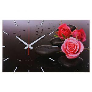 """Часы-картина настенные, серия: Цветы, """"Розы на серых камнях"""", 61х37  см, микс 1271673"""