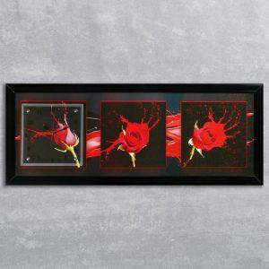 """Часы-картина настенные, серия: Цветы, """"Три розы"""", 35х100  см, микс 1222610"""