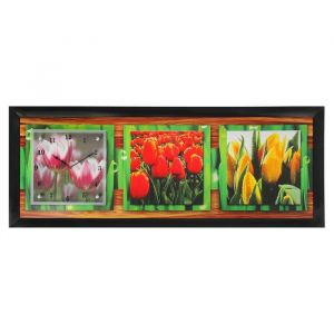 "Часы-картина настенные, серия: Цветы, ""Тюльпаны"", 35х100  см, микс 1210506"